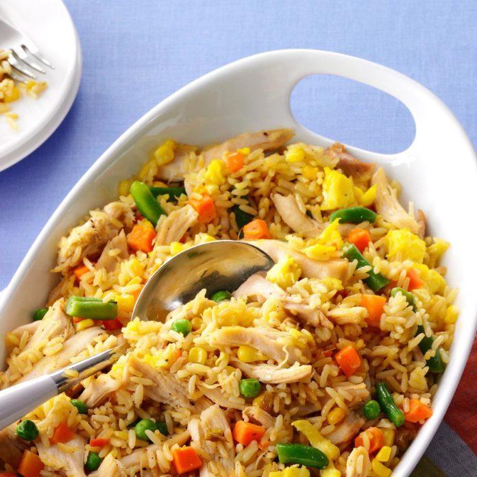 Super quick chicken fried rice taste of home super quick chicken fried rice ccuart Choice Image