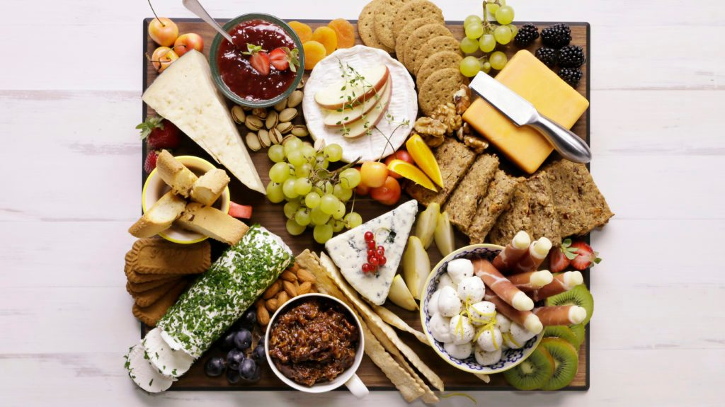 Overflowing cheese platter
