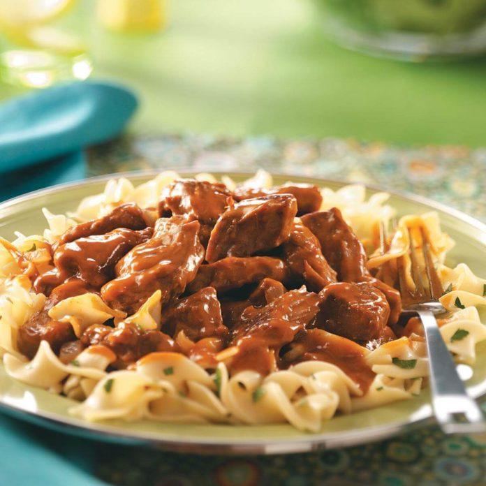 Tender Beef over Noodles