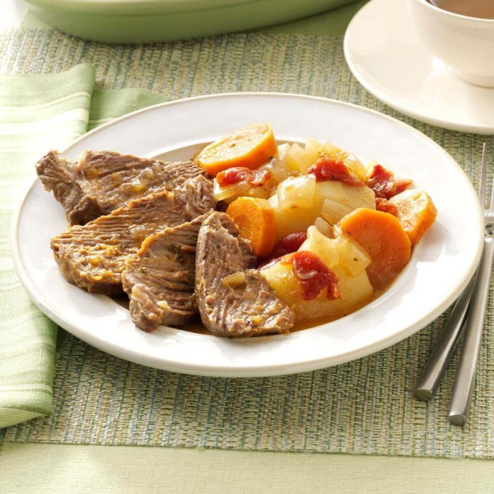 A platter of Traditional Yankee Pot Roast and vegetables