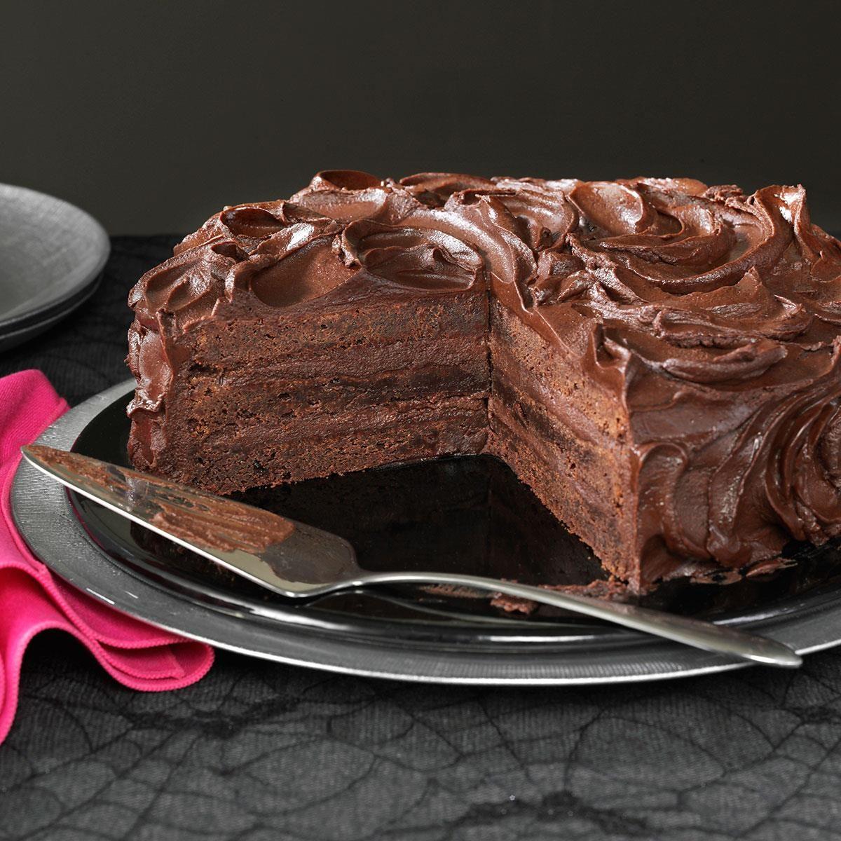Triple Layer Multi Chocolate Cake