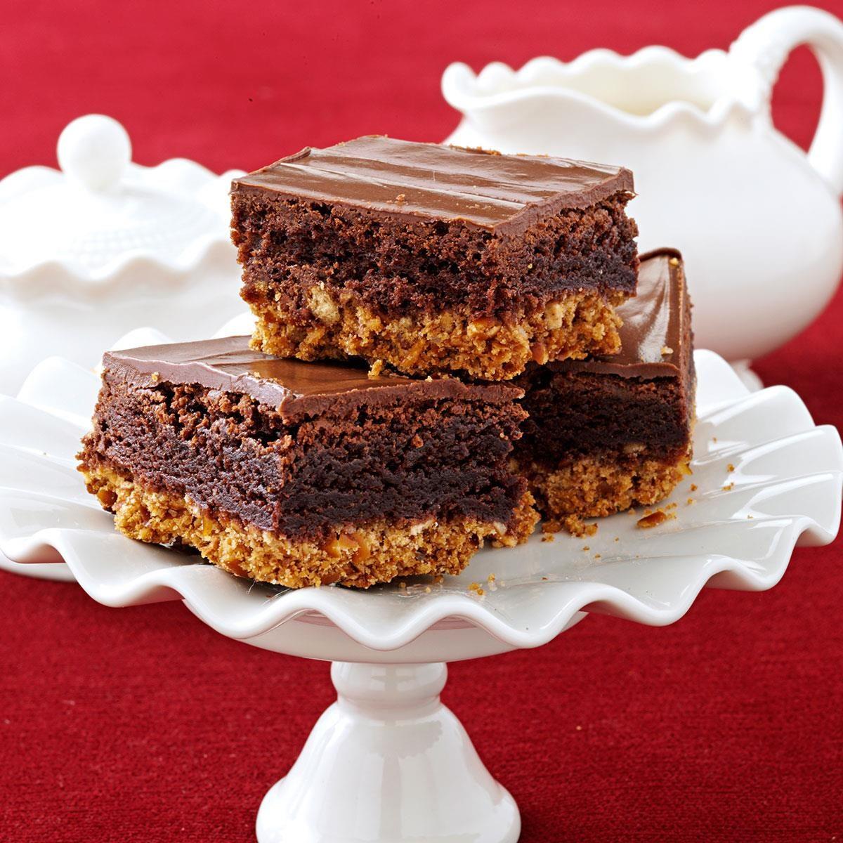 triple layer pretzel brownies recipe taste of home