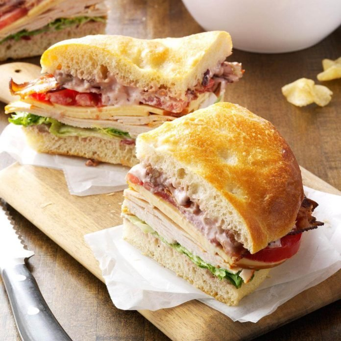 Turkey Focaccia Club Sandwich Idea