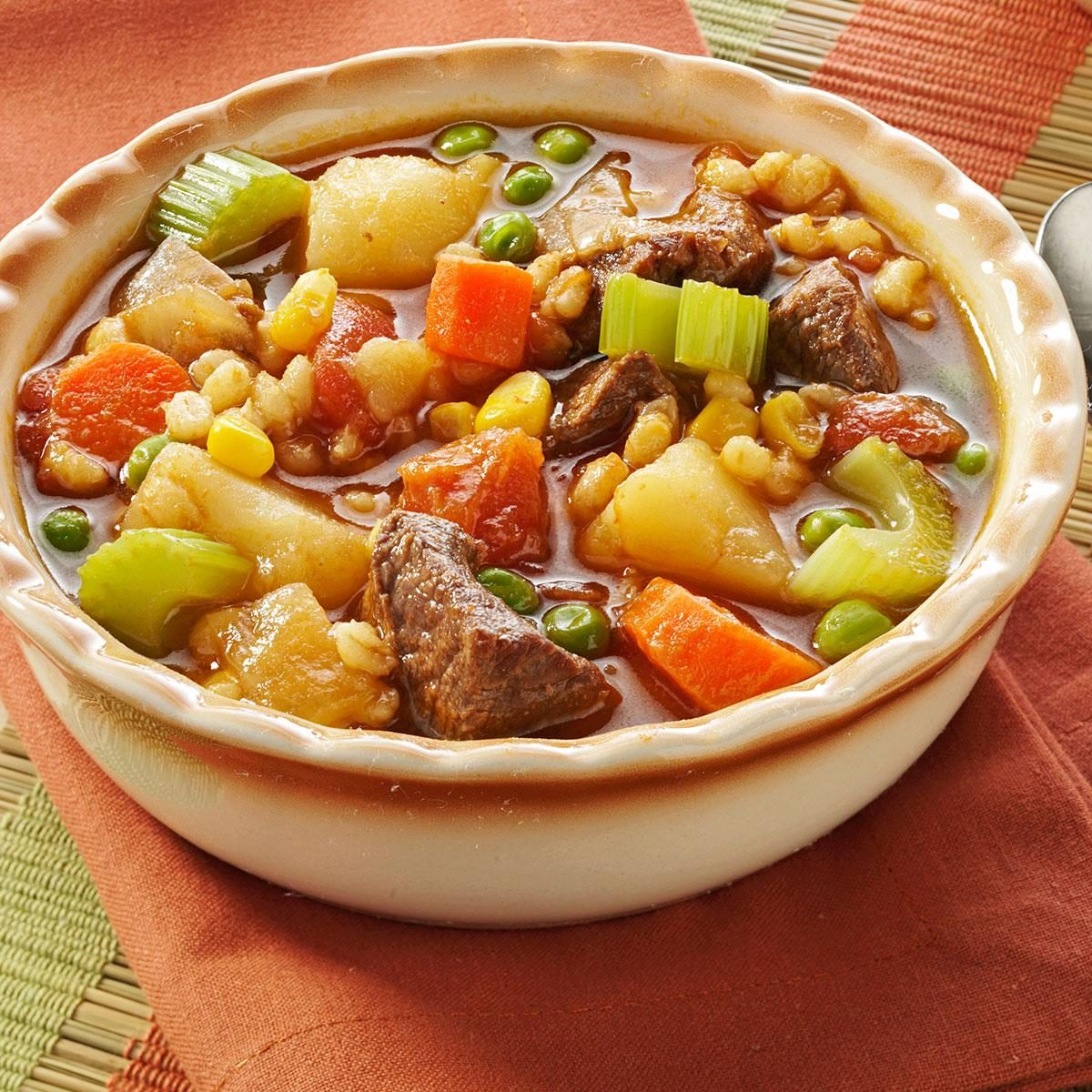 Vegetable Beef Barley Soup Recipe
