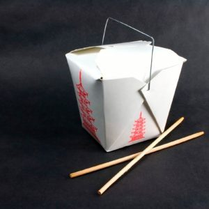 Chinese take-out container with chopsticks