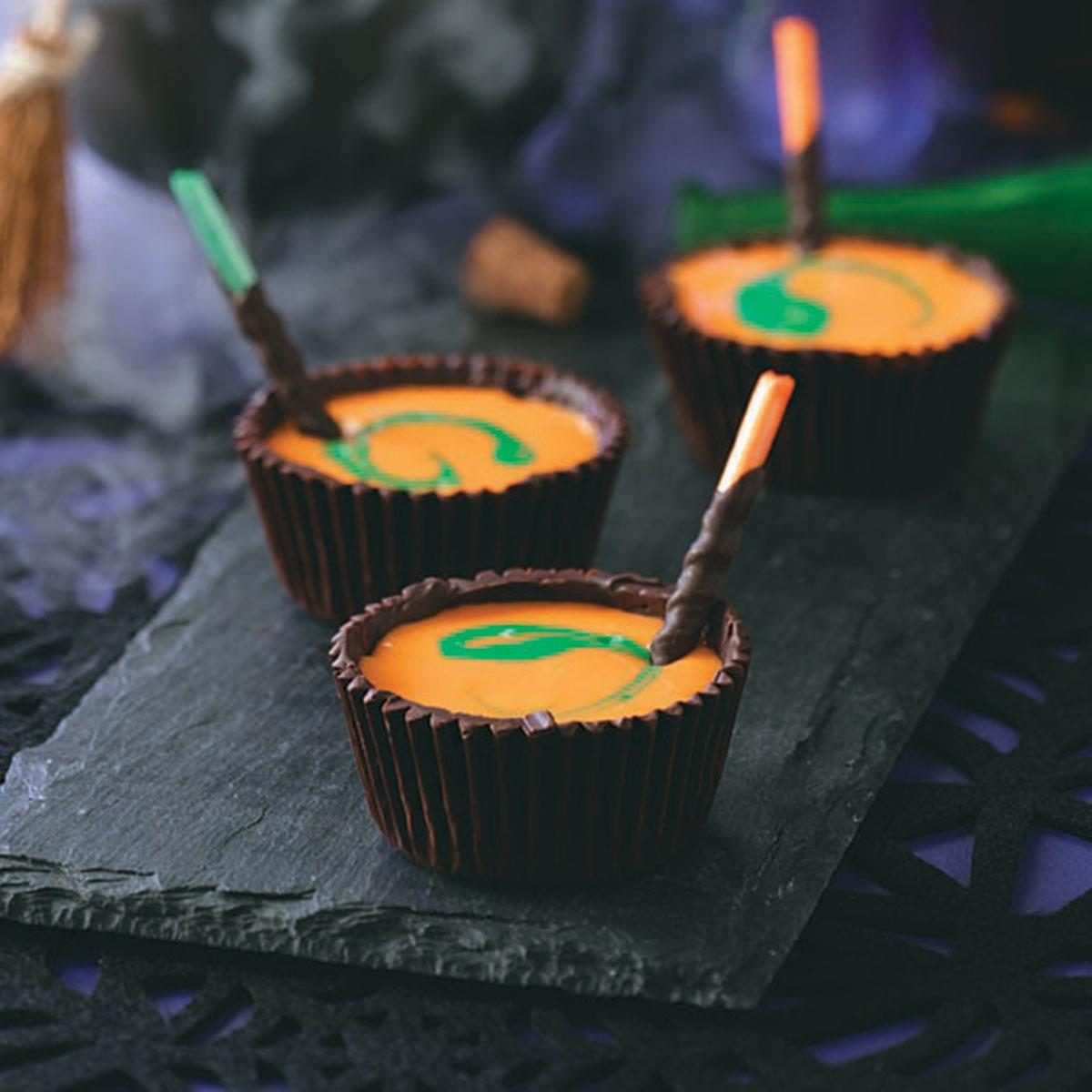 Yogurt-Filled Chocolate Cauldrons
