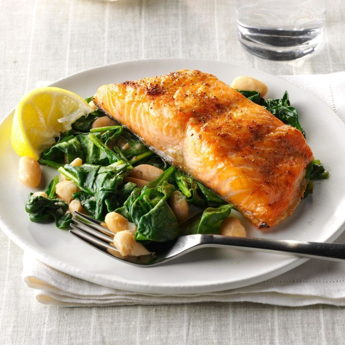 Salmon with Spinach and White Beans