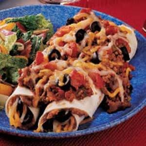 Beef-Topped Bean Enchiladas