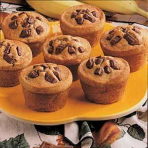Fudgy Banana Muffins