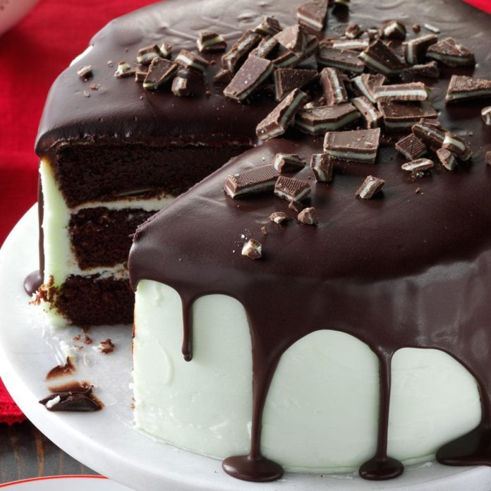 Mint-Frosted Chocolate Cake
