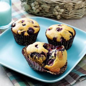 Baked Blueberry Cornmeal Muffins