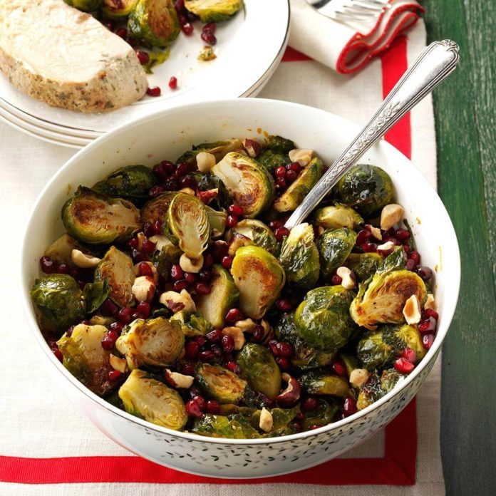 Pomegranate Hazelnut Roasted Brussels Sprouts