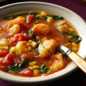 Shrimp & Cod Stew in Tomato-Saffron Broth