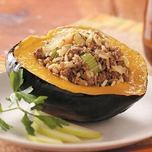 Ground Beef Stuffed Acorn Squash