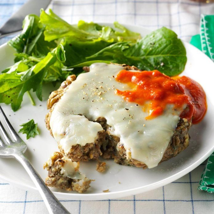 Italian Herb-Lentil Patties with Mozzarella