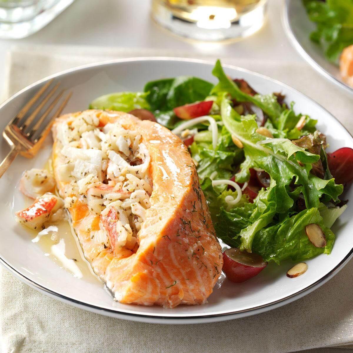Stuffed Salmon: Seafood-Stuffed Salmon Fillets Recipe