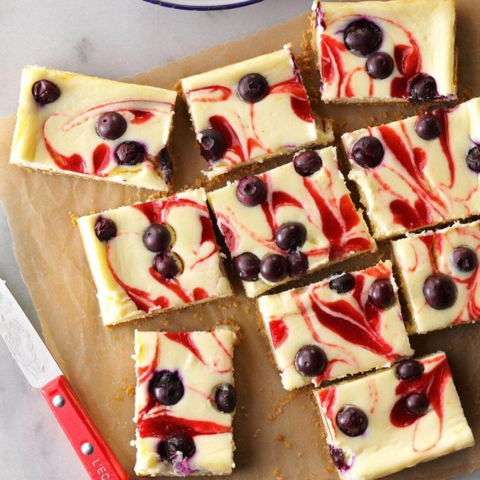 Red, White & Blue Cheesecake Bars