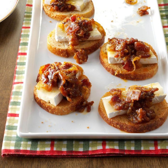Appetizer Course: Brie with Bacon-Plum Jam