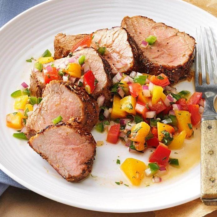 Wisconsin: Caribbean-Spiced Pork Tenderloin with Peach Salsa