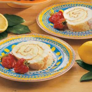 Lemon Angel Cake Roll