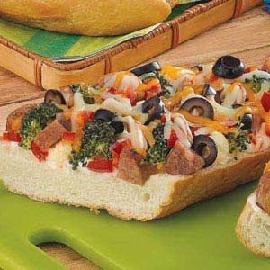 Sausage French Bread Pizza Recipe | Taste of Home