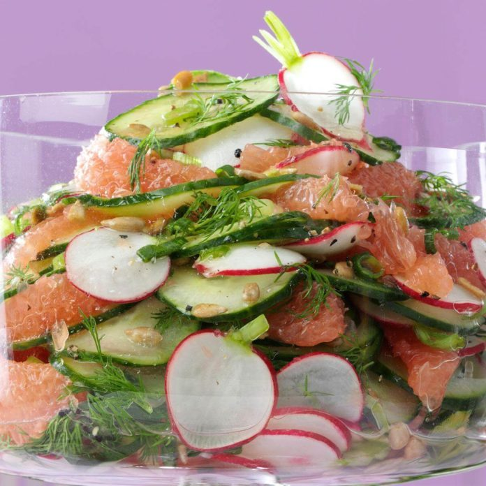 Radish, Cucumber and Grapefruit Salad
