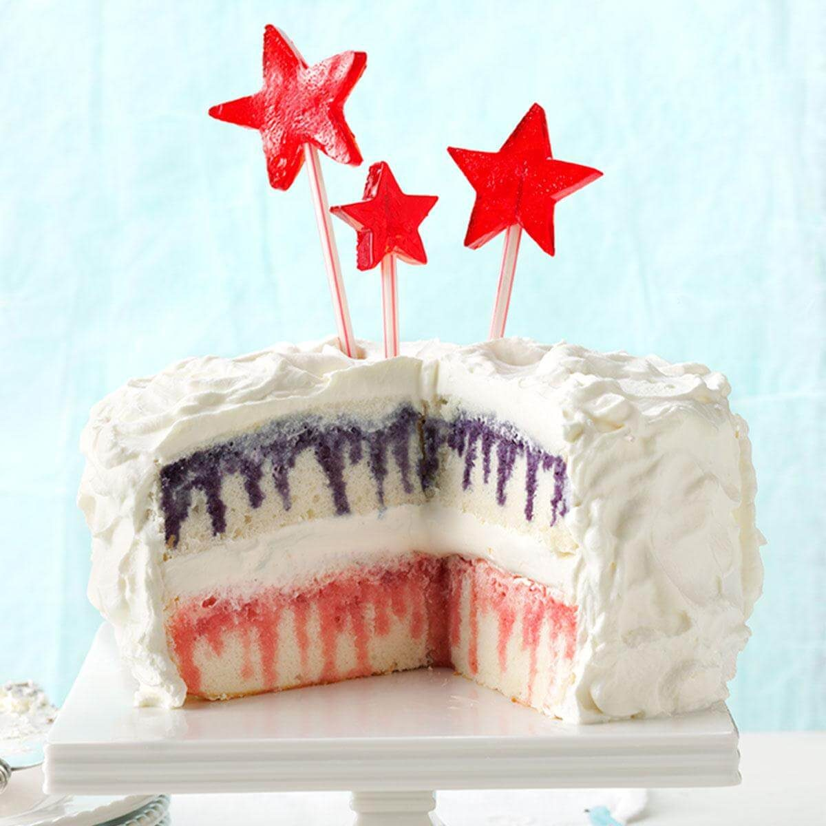 Excellent Red White Blueberry Poke Cake Recipe Taste Of Home Funny Birthday Cards Online Alyptdamsfinfo