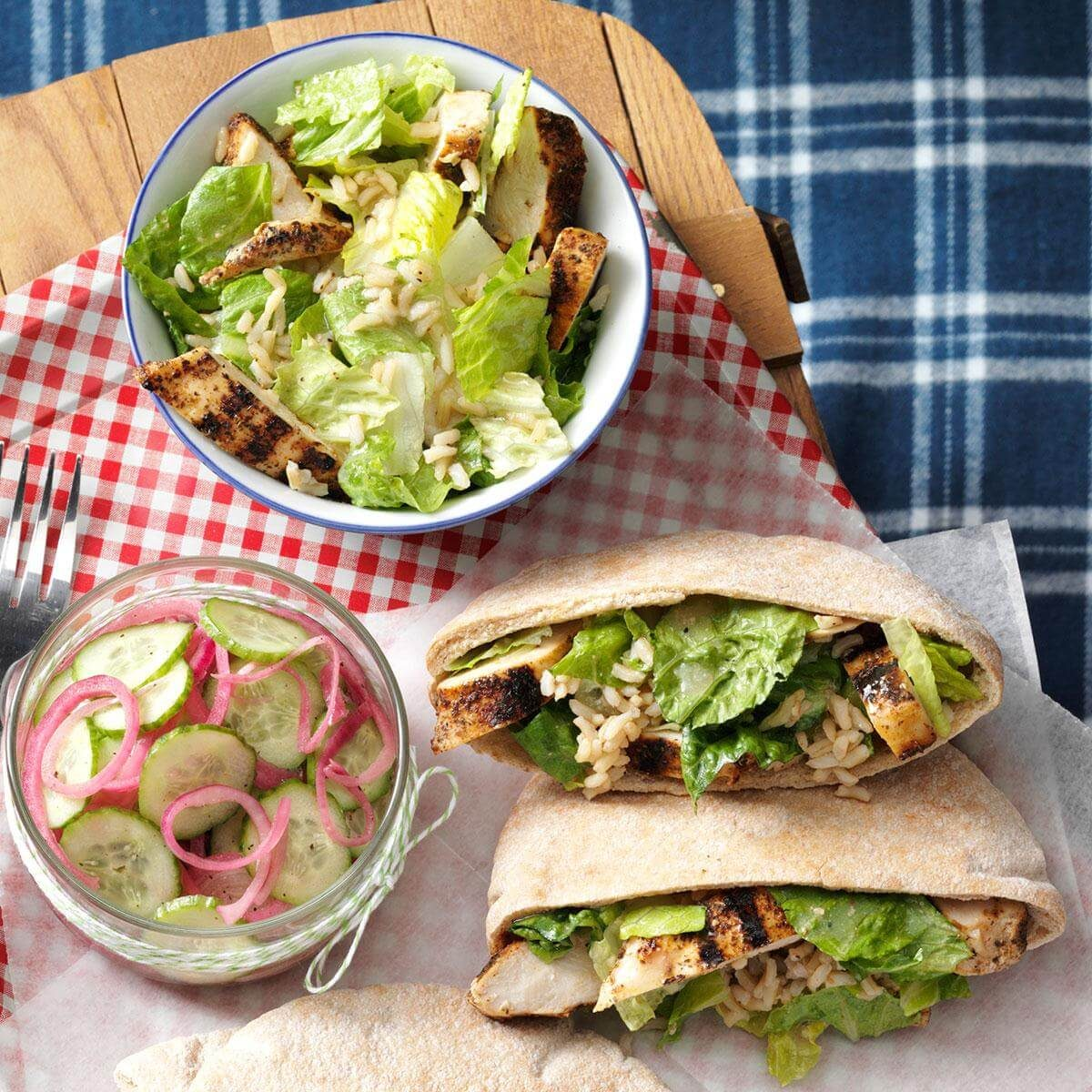 Brunch Ideas At Work: Chicken Caesar Pitas Recipe