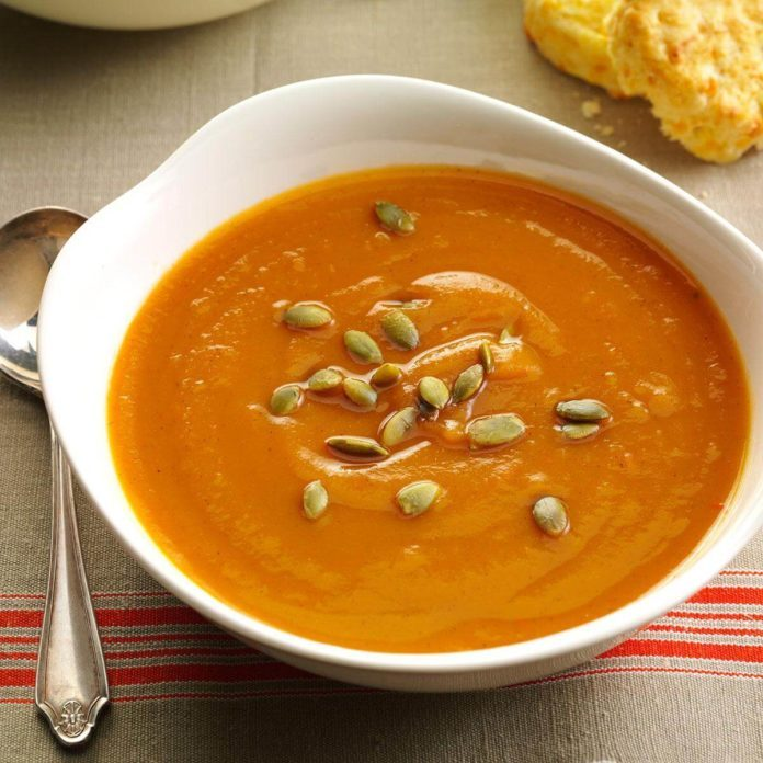 Soup and Salad Course: Spiced Sweet Potato Soup