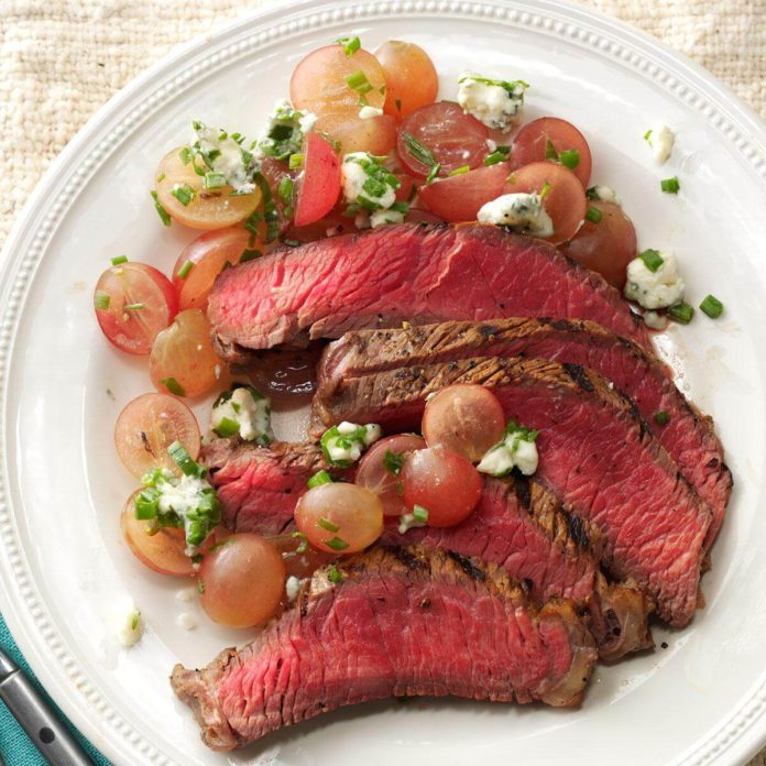 Balsamic Steak with Red Grape Relish