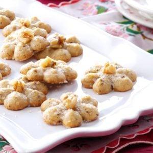 Maple-Walnut Spritz Cookies