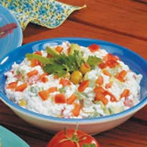 cottage cheese veggie salad recipe taste of home rh tasteofhome com  cottage cheese vegetable dip recipe