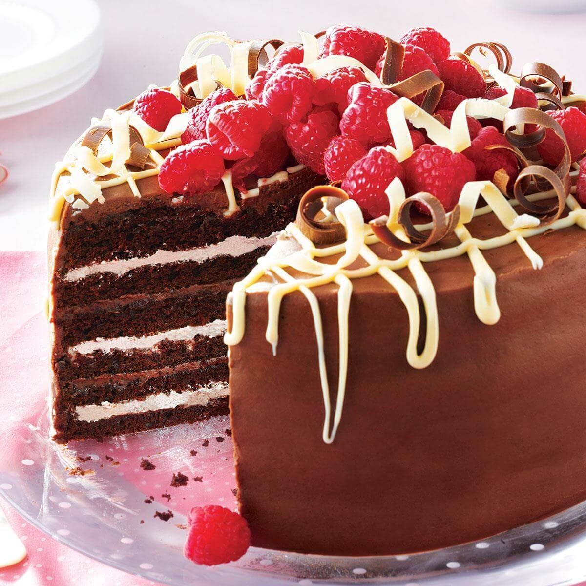 Very Chocolate Torte With Raspberry Cream Recipe