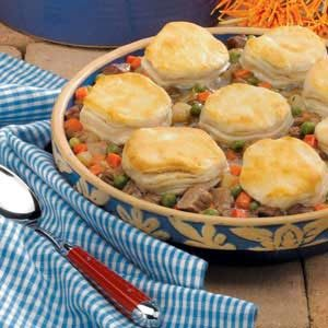 Beef Potpie with Biscuits