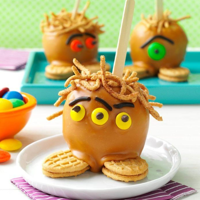 Scary Hairy Caramel Apples