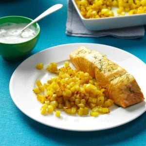 Poached Salmon with Dill & Turmeric