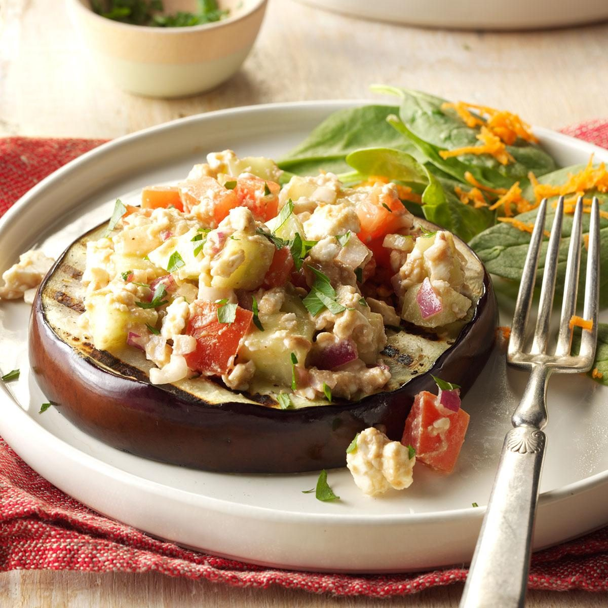 Grilled Eggplant With Feta Relish Recipe