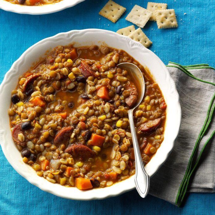 Southwest Barley & Lentil Soup with Kielbasa