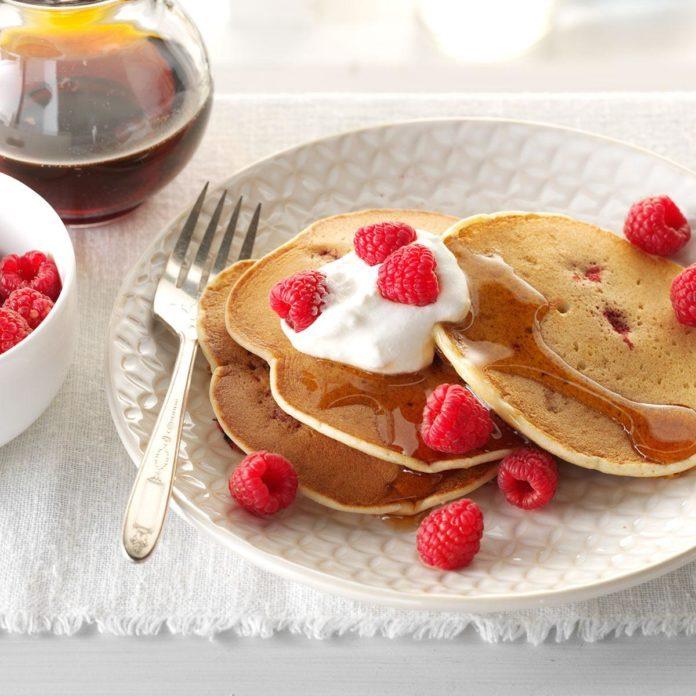 Lemon-Raspberry Ricotta Pancakes