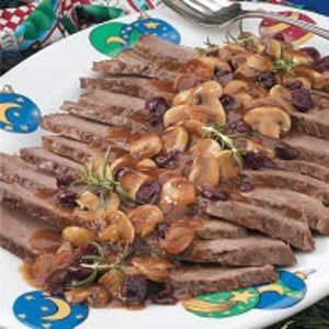Cranberry-Mushroom Beef Brisket