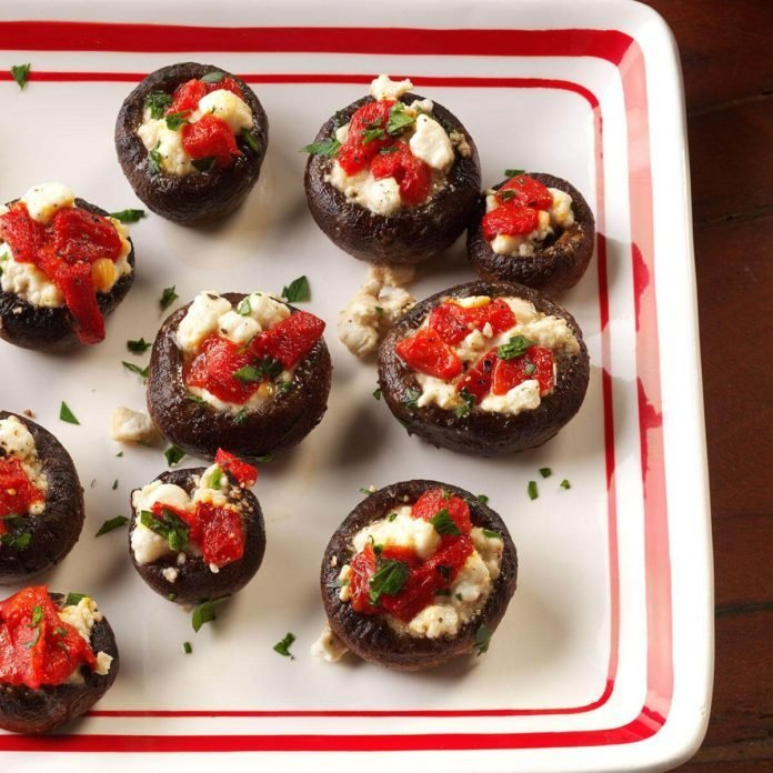 A platter of Goat Cheese Stuffed Mushrooms