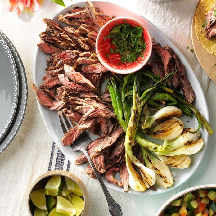 May 5: Grilled Onion & Skirt Steak Tacos