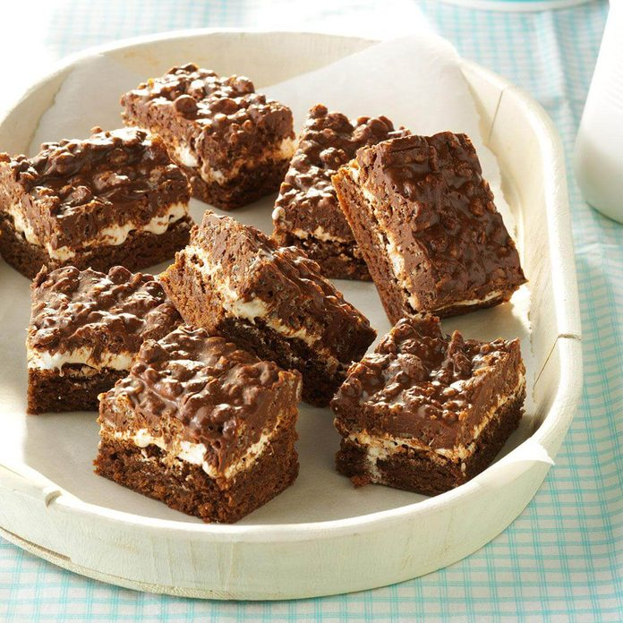 Cocoa rice crispie brownies