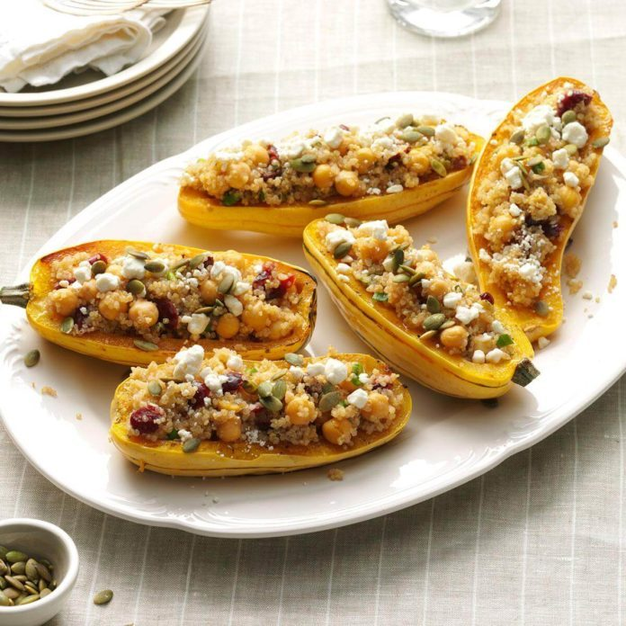 Day 22: Quinoa-Stuffed Squash Boats