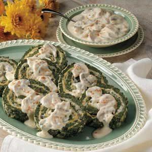 Spinach Spirals with Mushroom Sauce