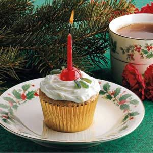 Candied Holly Cupcakes