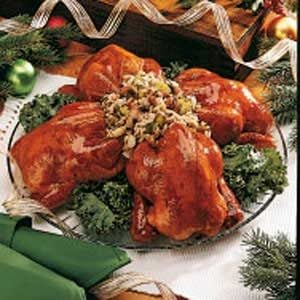 Currant-Glazed Cornish Hens