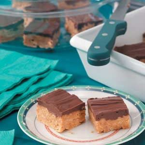 Chocolate Butterscotch Peanut Butter Cereal Bars with
