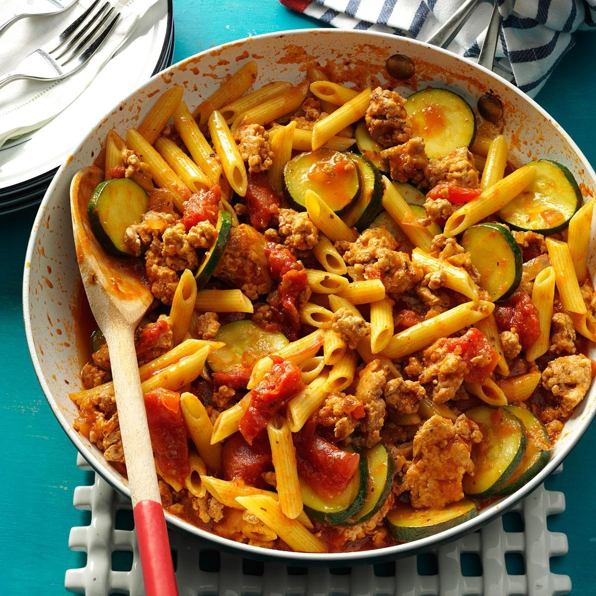 pork ground jiffy recipes skillet recipe penne taste pasta meals cooking ready zucchini sausage dinner dishes dinners chicken barbecue beef