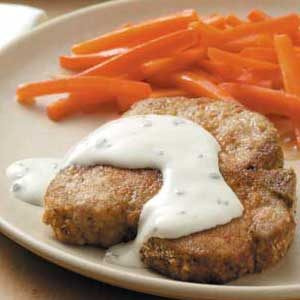 Breaded Pork Chops with Chive and Onion Cream Cheese